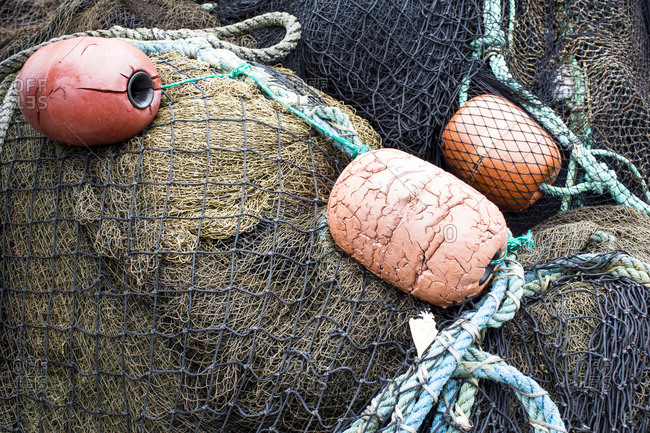 Close up of fishing net and buoys