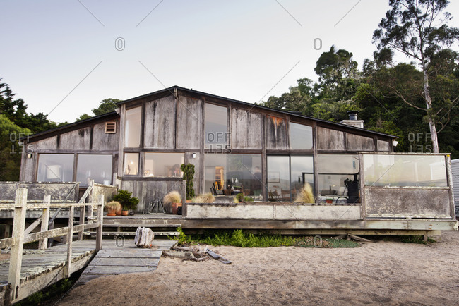 Exterior of house on beach