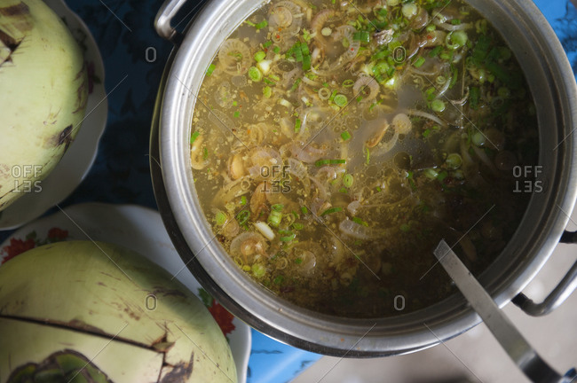 Close up of pot of hearty soup