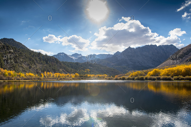 Mountains reflecting in remote lake