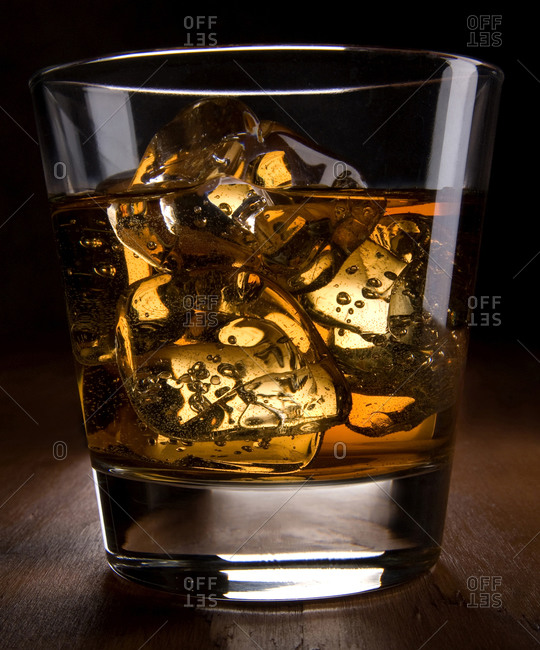 Close up of glass of scotch