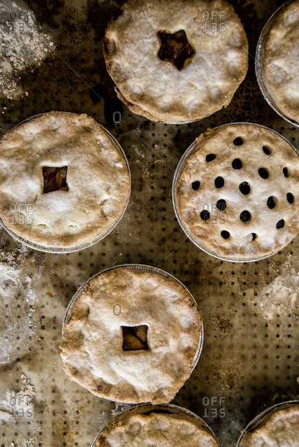 Variety of pies on bakery counter