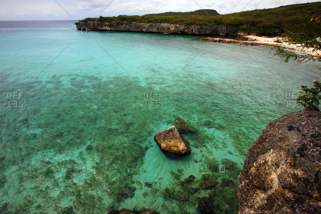 High angle view of coral and rock formations near tropical beach