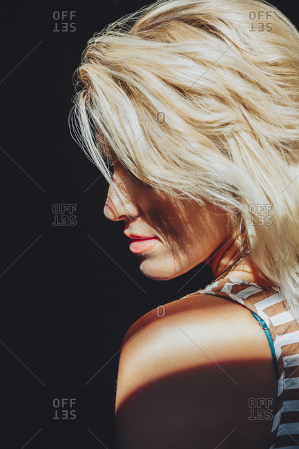 Caucasian woman with blonde hair