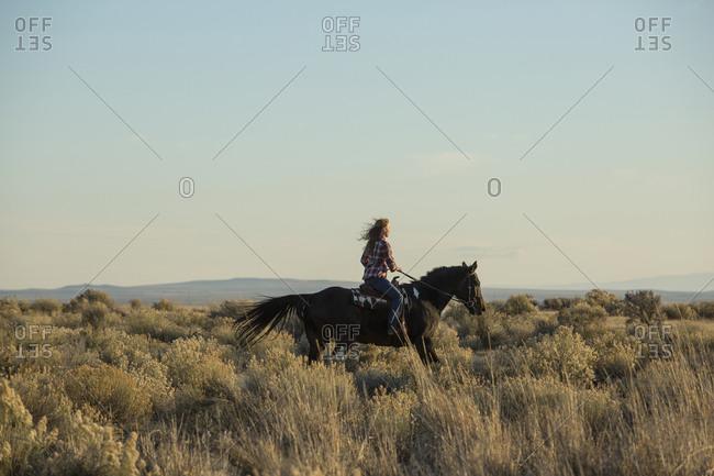 Caucasian woman riding horse in field