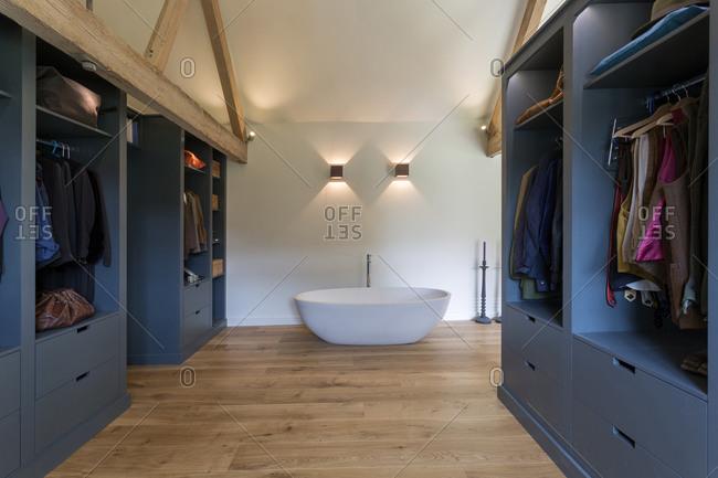 Closet and bathtub in modern bedroom