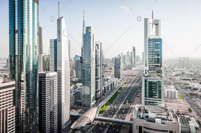 Aerial view of Dubai cityscape, United Arab Emirates
