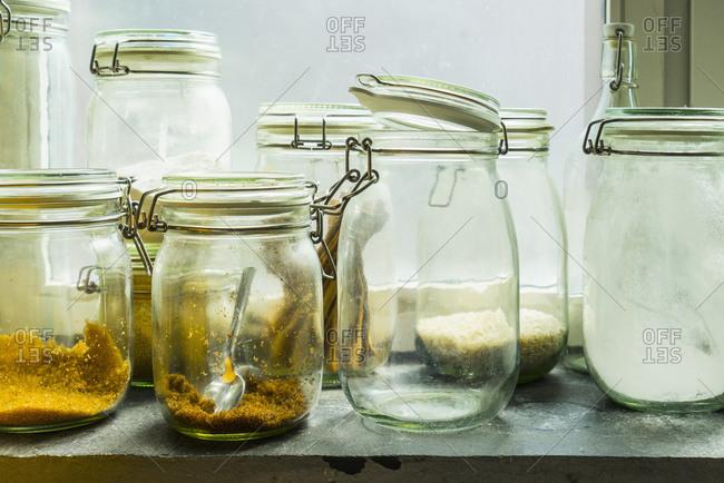 Open jars in windowsill