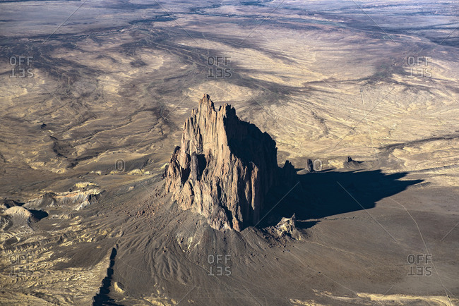 Aerial view of rock formations, Shiprock, New Mexico, United States