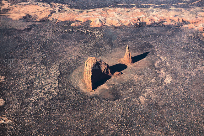 Aerial view of rock formations, Tuba City, Arizona, United States