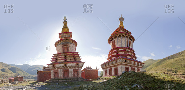 Ornate traditional towers in remote landscape