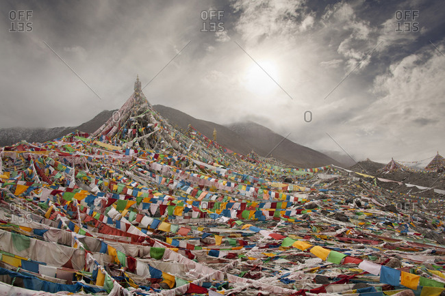 Prayer flags on remote mountain slope