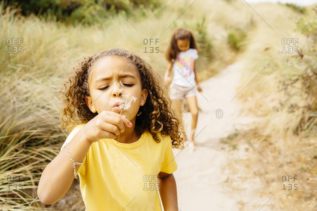 Mixed race girl blowing dandelion seeds