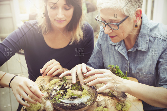 Mother and daughter arranging terrarium