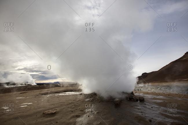 Geyser steam in remote field