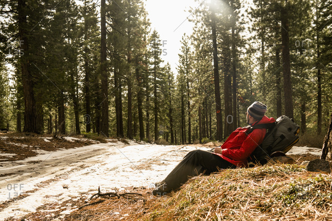 Man resting during his hike