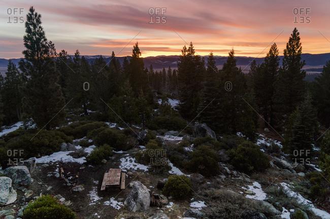 Glowing sky over vast wilderness