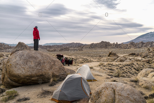 Man in rocky campsite