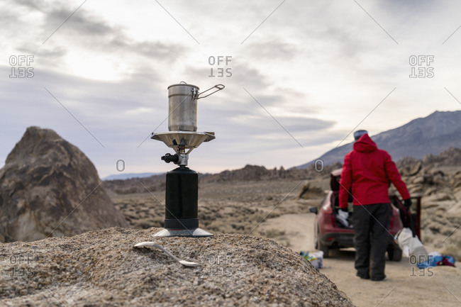 Camping heater in wilderness