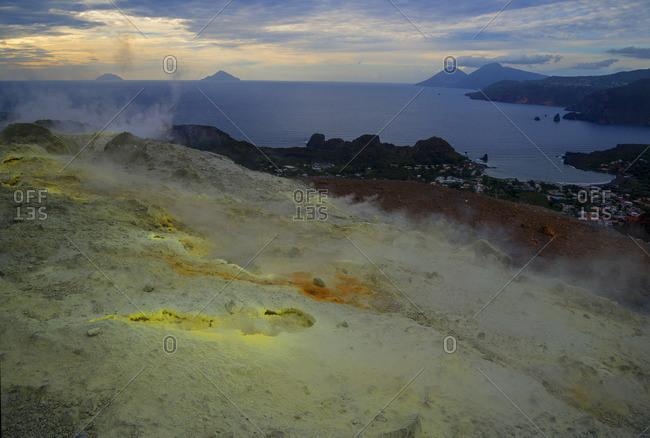 Sulphur and fumaroles smoke on volcano Gran cratere, Vulcano Island, Aeolian Islands, UNESCO World Heritage Site, Sicily, Italy