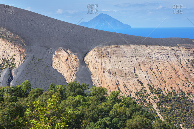 View of Gran Cratere and Finicudi Island, Vulcano Island, Aeolian Islands, Sicily, Italy