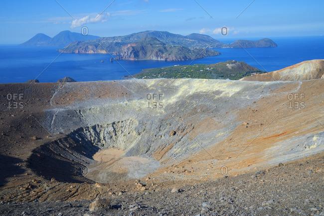 Gran Cratere and Aeolian Islands view, Vulcano Island, Aeolian Islands, Sicily, Italy