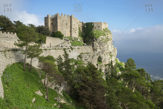 View of Venus Castle situated an the top of the mountain, Erice, Sicily, Italy