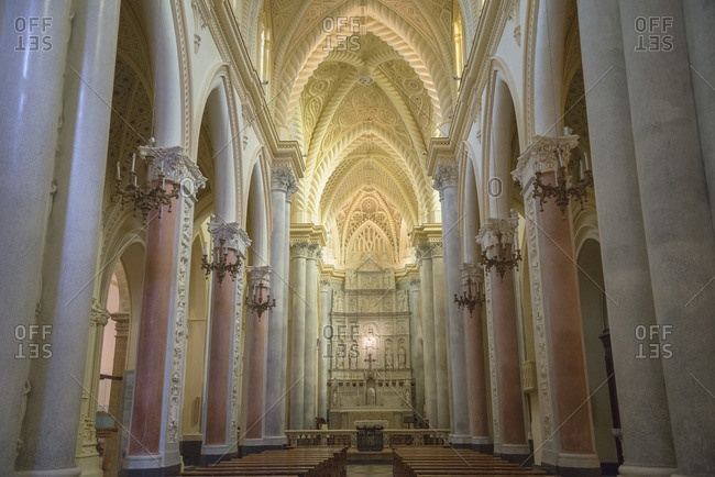 December 21, 2015: Interior of the Duomo, Erice, Sicily, Italy