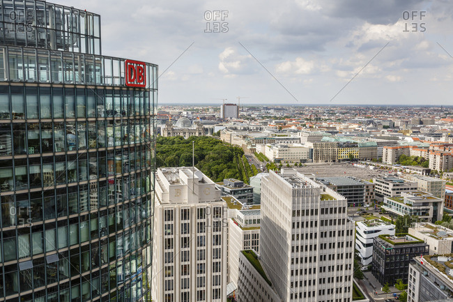 May 21, 2015: Skyline of Berlin from the Panorama Punkt Berlin, Germany