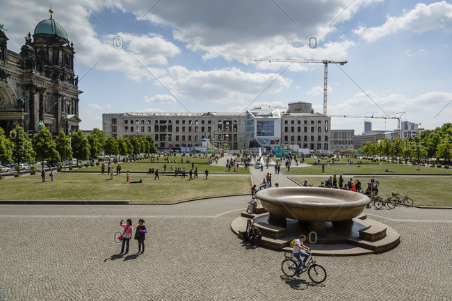 May 22, 2015: View over the  Lustgarten at the Museumsinsel, Mitte, Berlin, Germany