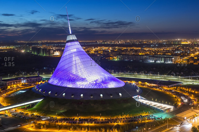 September 4, 2014: Central Asia, Kazakhstan, Astana, Night view over Khan Shatyr entertainment center