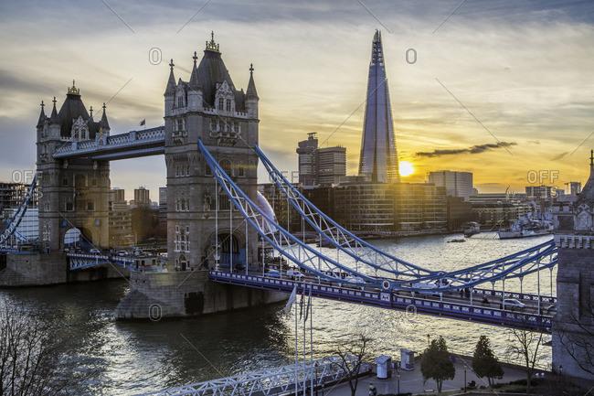 Tower Bridge and modern buildings in London, UK