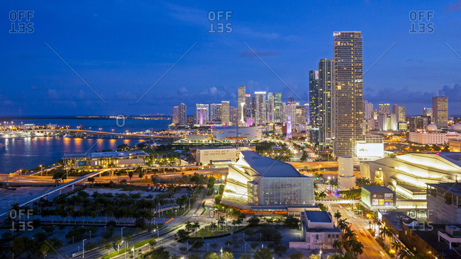 May 16, 2015: Elevated view over Biscayne Boulevard and the skyline of Miami, Florida, USA
