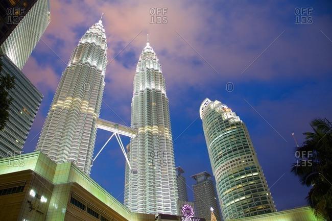 December 20, 2015: Asia, Malaysia, Kuala Lumpur, Patronas Towers at Night