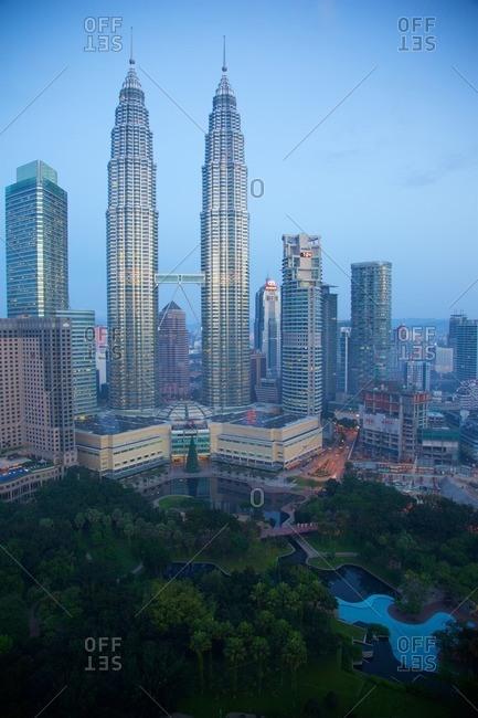December 20, 2015: Asia, Malaysia, Kuala Lumpur, Patronas Towers at Daybreak