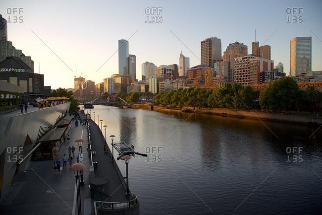 December 23, 2015: Australia, Victoria, Melbourne, City Skyline from Princes Bridge