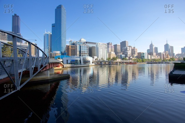 December 22, 2015: Australia, Victoria, Melbourne, Yarra River and City Skyline