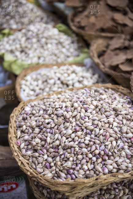 Shallots in Kalaw market, Shan State, Myanmar