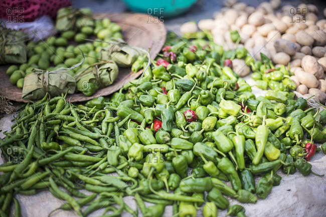 Green Chillies at Ywama Village Market, Inle Lake, Shan State, Myanmar