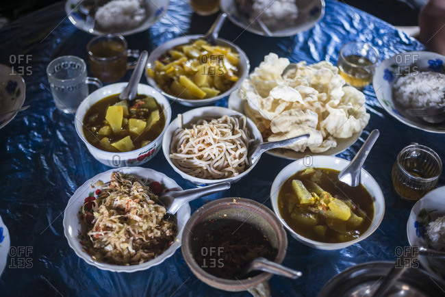 Burmese food in Pankam Village in Hsipaw Township, Shan State, Myanmar