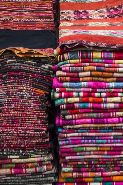 Weavings for sale at a street market in La Paz, La Paz Department, Bolivia