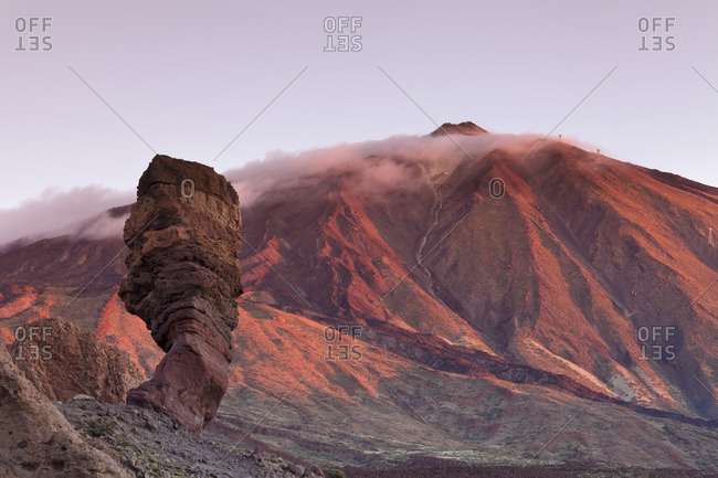 Los Roques de Garcia at Caldera de las Canadas, Pico de Teide at sunset, National Park Teide, UNESCO World Heritage Natural Site, Tenerife, Canary Islands, Spain