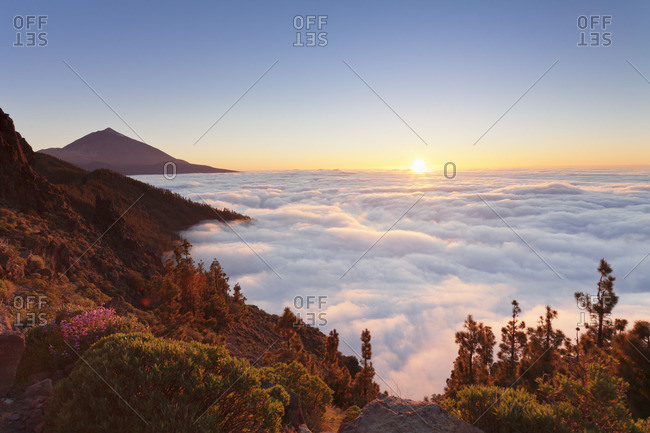 Pico del Teide at sunset, National Park Teide, UNESCO World Heritage Natural Site, Tenerife, Canary Islands, Spain