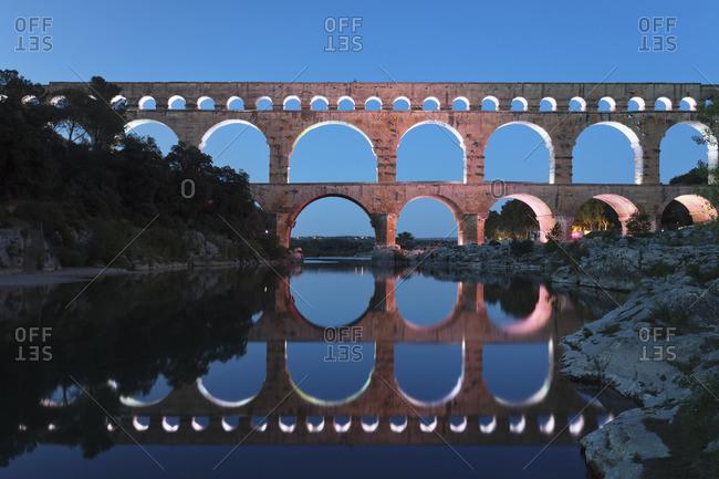 Pont du Gard, Roman aqueduct, UNESCO World Heritage, River Gardon, Languedoc-Roussillon, southern France, France