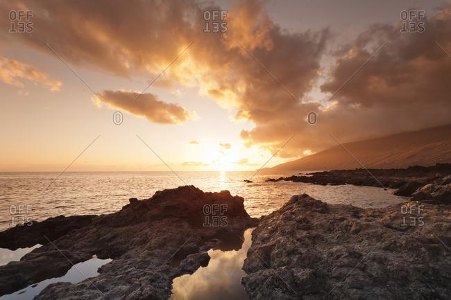 Sunset at south coast near La Restinga, UNESCO biosphere reserve, El Hierro, Canary Islands, Spain