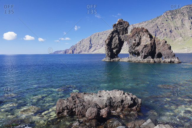 Las Playas Bay with rock arch Roque de Bonanza, landmark, UNESCO biosphere reserve, El Hierro, Canary Islands, Spain