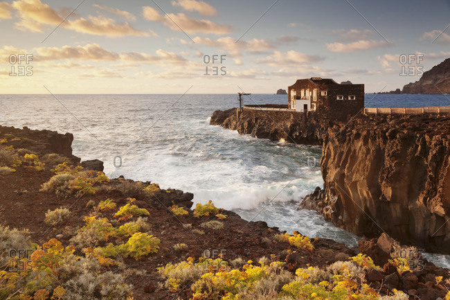 Hotel Punta Grande at sunset, Las Puntas, El Golfo, lava coast, UNESCO biosphere reserve, El Hierro, Canary Islands, Spain