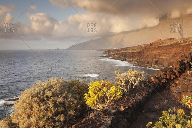 Coast near Los Llanillos at sunset, El Golfo Valley, UNESCO biosphere reserve, El Hierro, Canary Islands, Spain