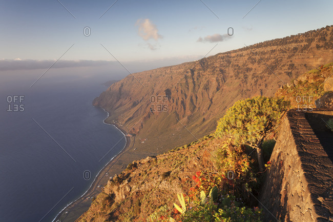 View from Mirador Isora to Las Playas Bay at sunrise, UNESCO biosphere reserve, El Hierro, Canary Islands, Spain