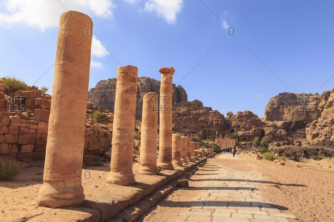 Colonnaded Street, City of Petra ruins, Petra, Jordan, Middle East